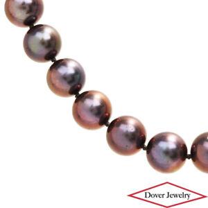Estate 9-9.5mm Akoya Grey Pearl 14K Gold 17.5'' Long Bead Necklace 47.0 Grams NR