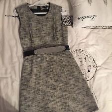 NWT H&M LUXURY Conscious Gray Tweed Shift Dress w Mirror Belt Sz Us 8 EUR 38