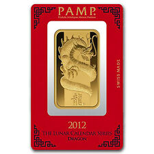 100 gram Pamp Suisse Lunar Year of the Dragon Gold Bar - In Assay - SKU #71016