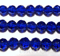 40 Crystal Glass Round Faceted Beads Dk Blue 8mm BF8008