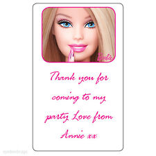 48 x Personalised Barbie Birthday Thank You Party Bag Address Stickers -163