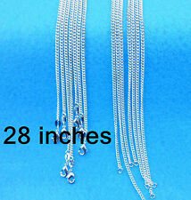 "Wholesale 28"" 10PCS Fashion Jewelry 925 Silver Plated Flat Curb Chain Necklace"