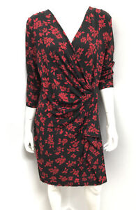 New! LEONA EDMISTON navy print wrap look Dress - Size 14 (3)
