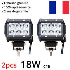 2X 18W Phare de Travail CREE Barre LED Feux Projecteur Offroad SUV ATV 12V 24V
