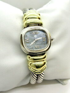 David Yurman Quartz Watch  T-15737 - Sterling & 14K w Black MOP Dial - Fits 6.25