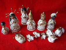 Vintage Handmade 14 pc Chalkware Nativity Set - Mexico 461432