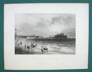LEBANON Sidon Sayda View from North - 1839 Antique Print by Bartlett