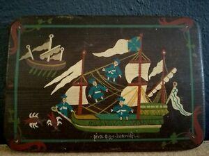 Vintage Greek Folk Art Painting On Wood Ship & Sailors Signed Rena Fili Ioannidi
