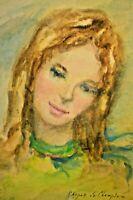 VERA CHOPAK De CHAMPLAIN Girl Figure Portrait Impressionist Watercolor Painting