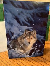 10 Christmas Note Cards Design Envelopes Moonlight Snow Wolf Season's Greetings