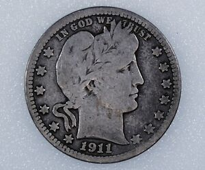 1911-D Barber Quarter Dollar Lower Minted Date Liberty Head Silver 25 Cent Coin