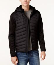 $135 Point Zero Men BLACK HOODED PACKABLE FULL ZIP JACKET Bomber WINTER COAT L