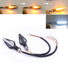 Pair White+Yellow LED Motorcycle Sequential Flowing Indicator DRL Driving Light