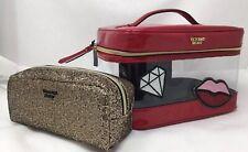 Victoria's secret Patch Train Makeup Case Duo 2 piece Square bag set Red Clear