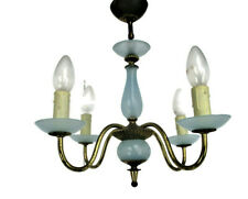 Opaline Baby Blue Brass Chandelier Hollywood regency Romantic 4 Arm Lights