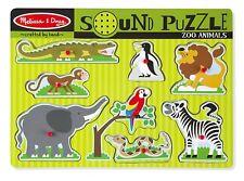 MELISSA Doug ZOO ANIMALI SUONO Puzzle-Puzzle in legno Peg con effetti sonori