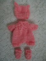 """Doll Clothes Pink knitted handmade Suit can fit ooak cloth body 6"""" 5"""" Berenguer"""