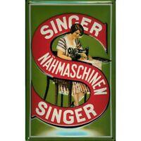 SINGER SEWING MACHINES ( GERMAN) :EMBOSSED(3D) METAL ADVERTISING SIGN 30X20cm