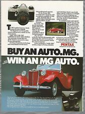 1982 PENTAX advertisement, buy a Pentax MG camera win a MG car