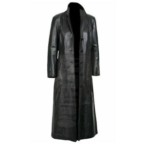 Mens Black Leather Trench Steampunk Matrix Terminator Winter Long Coat Jacket