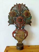Bouquet de fleurs en métal repoussé 60 cm de haut