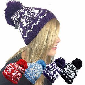 LADIES WOOLEY WARM WINTER BOBBLE BEANIE HAT SNOW OWL PATTERN BLACK BLUE PURPLE