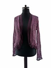 Italian Lace Knit Boho Mohair Dusky Pink Cardigan Cover Up M 10 12