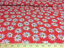 """Coral Daisies Allover Floral 100% Poly Chiffon Fabric 58"""" W Sold By The Yard"""