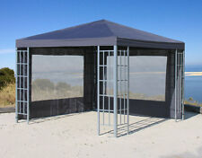 2 Seitenteile Set mit PVC Fenster zu  Aluoptik Pavillon 3x3m Anthrazit NEU & OVP