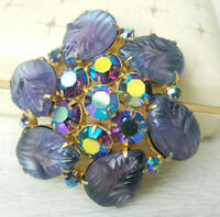 Rare Color Molded Fruit Salad Tanzanite Purple AB Austrian Rhinestone Brooch