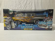 Muscle Machines 1:18 Diecast 57 Chevy Black Bel Air With Flames Too Cool Series