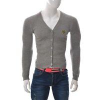 Lyle & Scott Vintage Men'S Button Front Short Cardigan V-Neck Long Sleeve Grey S