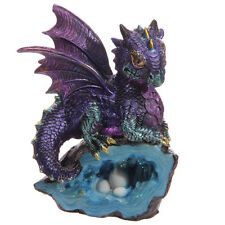 Blue Cute Baby Dragon With Crystal Cave Ornament Decor Enchanted Gift Present