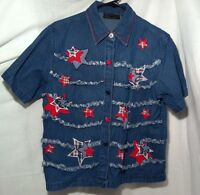 Women's Denim short sleeve shirt - Size M - 4th July - 100% Cotton  (A23)