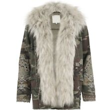 EX RIVER ISLAND 1962 FAUX FUR CAMO DENIM MILTARY COAT JACKET DETACHABLE COLLAR