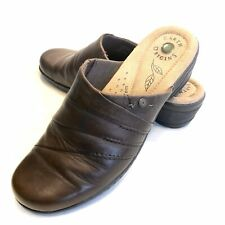 """Earth Origins """"Ginger"""" Brown Leather Slip-on Clogs Mules Shoes Women's 9.5 M"""