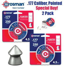 Crosman .177 Pointed Pellets 4.5mm Air Gun Rifle Pistol 500 Total 2-PACK SAVE!