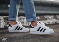 SCARPE ADIDAS Superstar Originals bianca strisce nera pelle C77154 sneakers