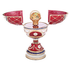 Faberge Egg / Music Box / Trinket Jewel Box Basket of Flowers 6.7'' (17cm) red
