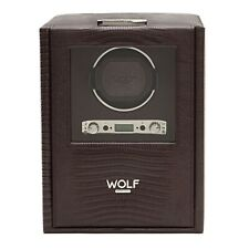 WOLF SINGLE BROWN 'CROC' BLAKE WINDER WITH STORAGE 4606