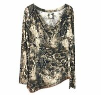 Double D Ranch Womens Snakeskin Knit Tunic Sequin Brown XL Long Sleeve Cowl Neck