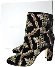 $1090 MANOLO BLAHNIK Isola Velvet Brocade Ankle Boots Embroidery Booties 37 Blac