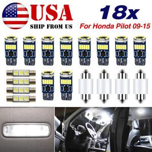 For Honda Pilot 2009-2015 LED Interior Light Accessories Kit 18x Bulbs WHITE