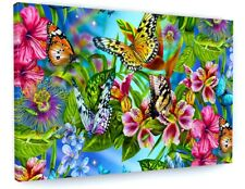 BUTTERFLY COLOURFUL CANVAS PICTURE PRINT CHUNKY FRAME LARGE #A399