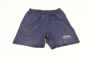 Vintage 90s Wilson Mens XL Spell Out Thrashed Faded Cotton Dad Shorts Navy Blue