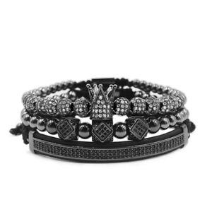 2021 Luxury Gold Plated CZ Balls Royal Crown King Bracelet Men Fashion Jewelry