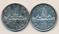Canada Lot of 2 Silver Dollars 1954 - lightly circulated