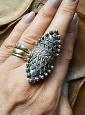 AMAZING HUGE STERLING SILVER RING-LONG ORNATE TRIBAL DETAIL OXIDISED- SIZE O 16g