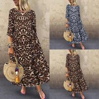 ZANZEA Women Leopard Print Long Shirt Dress Crew Neck Loose Oversize Midi Dress