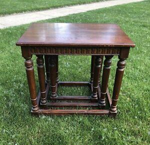RARE - Vintage Ethan Allen Royal Charter English Oak Set Nesting / Nested Tables